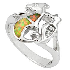 Pink australian opal (lab) 925 silver seahorse ring size 7.5 c15800