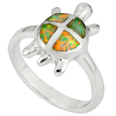Pink australian opal (lab) 925 sterling silver tortoise ring size 7.5 c15830