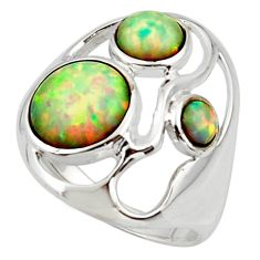 4.75cts pink australian opal (lab) 925 sterling silver ring size 8 r44775