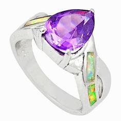 Pink australian opal (lab) amethyst 925 sterling silver ring size 5.5 c23969