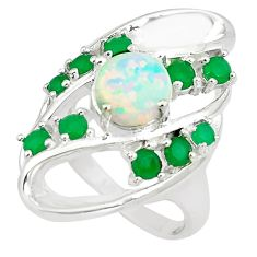4.45cts pink australian opal (lab) emerald 925 silver ring size 7 a89429 c24408
