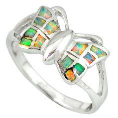 Pink australian opal (lab) enamel 925 silver butterfly ring size 9 a36583 c14969