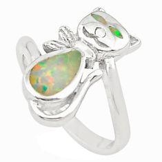 Pink australian opal (lab) enamel 925 silver cat ring jewelry size 5.5 c25857
