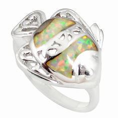 Pink australian opal (lab) enamel 925 silver ring size 8.5 a73472 c24636