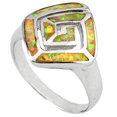 Pink australian opal (lab) enamel 925 silver ring jewelry size 8.5 c15756