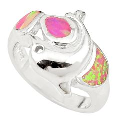 Pink australian opal (lab) enamel 925 silver ring jewelry size 6.5 c25858