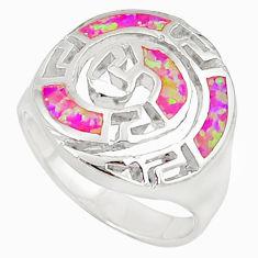 Pink australian opal (lab) enamel 925 silver ring jewelry size 7 c15759
