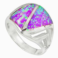 Pink australian opal (lab) enamel 925 silver ring jewelry size 8 c15744