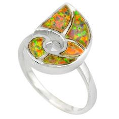 Pink australian opal (lab) enamel 925 sterling silver ring size 7 c15746