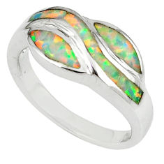 Pink australian opal (lab) enamel 925 sterling silver ring size 7 a56720 c14962