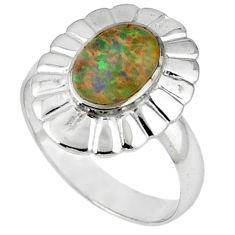 Pink australian opal (lab) enamel 925 sterling silver ring size 8 a41127 c14967