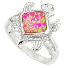 Pink australian opal (lab) enamel 925 sterling silver ring size 8 c15794