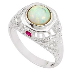 2.33cts pink australian opal (lab) ruby 925 silver ring size 8 a89164 c24632