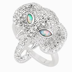 2.74cts pink australian opal (lab) silver elephant ring size 6.5 a95969 c24627