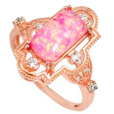 3.12cts pink australian opal (lab) silver rose gold ring size 8.5 a61906 c14948