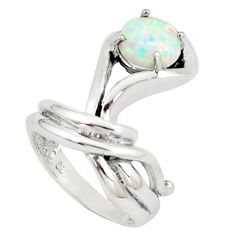 1.88cts pink australian opal (lab) silver solitaire ring size 6.5 a89245 c24407
