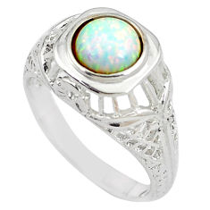 1.40cts pink australian opal (lab) silver solitaire ring size 8 a89157 c24635