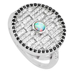 1.81cts pink australian opal (lab) topaz 925 silver ring size 8.5 a95953 c24641