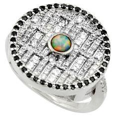2.82cts pink australian opal (lab) topaz 925 silver ring jewelry size 6.5 c10014