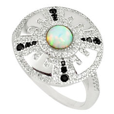 1.17cts pink australian opal (lab) topaz 925 silver ring size 8 a89180 c24657