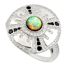 3.41cts pink australian opal (lab) topaz 925 sterling silver ring size 6 c9851