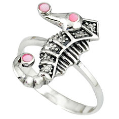 Pink blister pearl enamel 925 silver seahorse ring size 5.5 a39882 c13486
