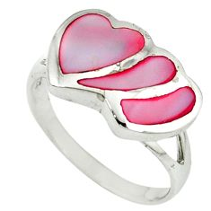 Pink blister pearl enamel 925 sterling silver heart ring size 7.5 c12905