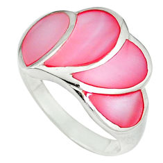Pink blister pearl enamel 925 sterling silver ring size 7.5 a39942 c13188