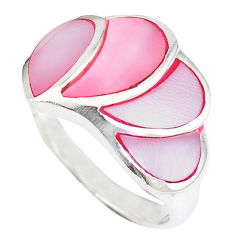 Pink blister pearl enamel 925 sterling silver ring size 8.5 a41810 c13189