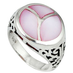 Pink blister pearl enamel 925 sterling silver ring jewelry size 7.5 c12892