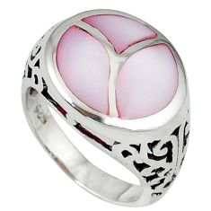 Pink blister pearl enamel 925 sterling silver ring jewelry size 6 c12898