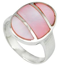 Pink blister pearl enamel 925 sterling silver ring jewelry size 8 c12877