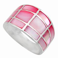 5.26gms pink blister pearl enamel 925 sterling silver ring size 7 c26283