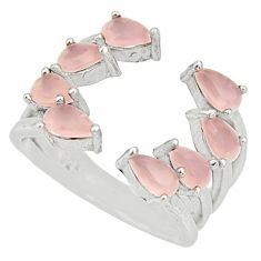 4.29cts pink chalcedony 925 sterling silver ring jewelry size 6 c9146