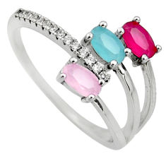 2.71cts pink chalcedony ruby (lab) 925 sterling silver ring size 7 c9405