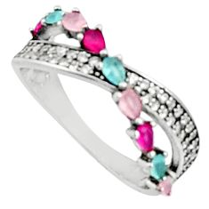 2.23cts pink chalcedony ruby (lab) 925 sterling silver ring size 7 c9419