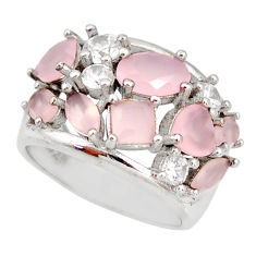 7.37cts pink chalcedony topaz 925 sterling silver ring size 6 c9082