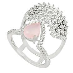 5.28cts pink chalcedony white topaz 925 sterling silver ring size 6 c19237