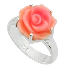 4.77cts pink coral 925 sterling silver flower solitaire ring size 6 r22739