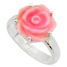5.06cts pink coral 925 sterling silver flower solitaire ring size 7 r22725