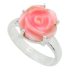 4.71cts pink coral 925 sterling silver flower solitaire ring size 7 r22730