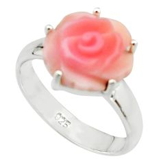 4.71cts pink coral 925 sterling silver flower solitaire ring size 7 r22731