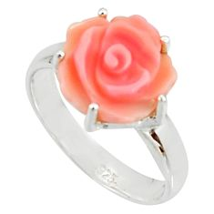 5.06cts pink coral 925 sterling silver flower solitaire ring size 8 r22722
