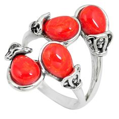 8.68cts pink coral 925 sterling silver ring jewelry size 7 c12710