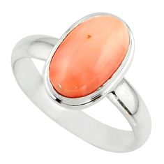 3.81cts pink coral 925 sterling silver ring jewelry size 9 r42616