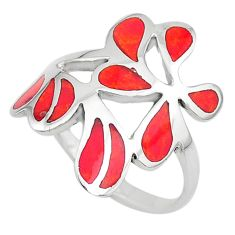 5.48gms pink coral enamel 925 sterling silver ring jewelry size 10 t10492