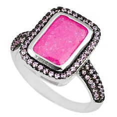 Pink crack crystal kunzite (lab) 925 sterling silver ring jewelry size 8 c22934