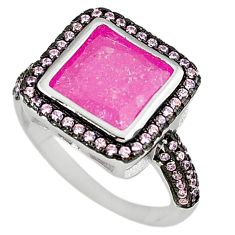 Pink crack crystal topaz 925 sterling silver ring jewelry size 8.5 c22933