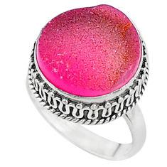 11.53cts pink druzy 925 sterling silver solitaire ring jewelry size 7 t16287