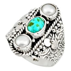3.46cts pink green arizona mohave turquoise 925 silver ring size 7.5 r42828